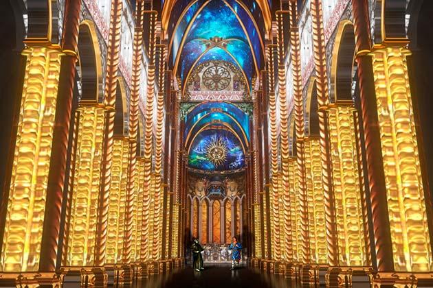 Intérieure de la cathédrale, une scène or et bleue